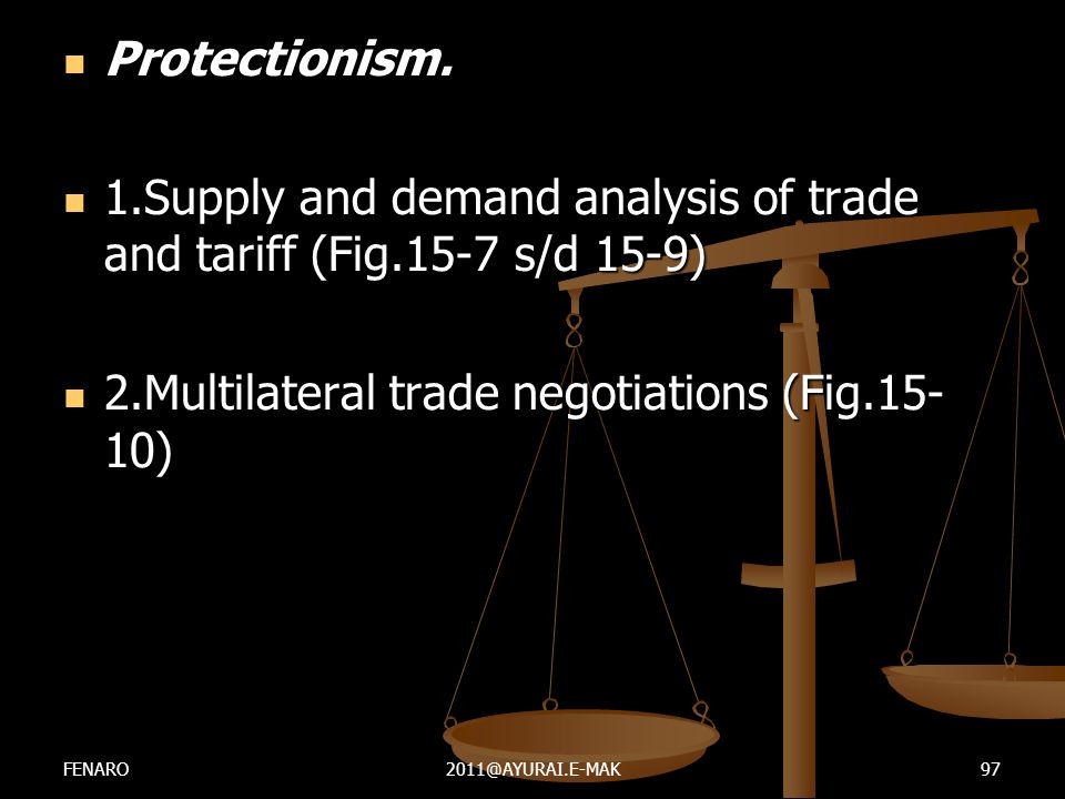 1.Supply and demand analysis of trade and tariff (Fig.15-7 s/d 15-9)