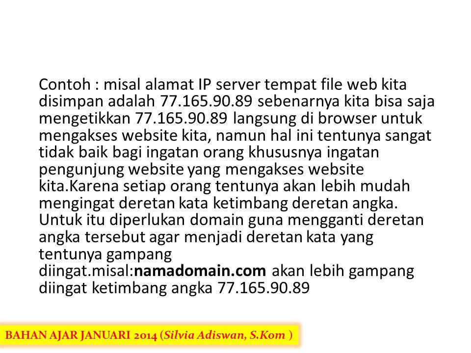 Contoh : misal alamat IP server tempat file web kita disimpan adalah 77.165.90.89 sebenarnya kita bisa saja mengetikkan 77.165.90.89 langsung di browser untuk mengakses website kita, namun hal ini tentunya sangat tidak baik bagi ingatan orang khususnya ingatan pengunjung website yang mengakses website kita.Karena setiap orang tentunya akan lebih mudah mengingat deretan kata ketimbang deretan angka. Untuk itu diperlukan domain guna mengganti deretan angka tersebut agar menjadi deretan kata yang tentunya gampang diingat.misal:namadomain.com akan lebih gampang diingat ketimbang angka 77.165.90.89
