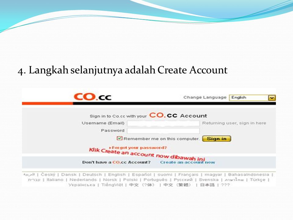 4. Langkah selanjutnya adalah Create Account