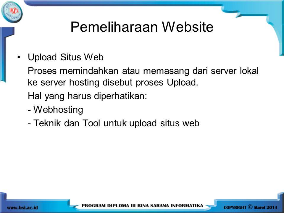 Pemeliharaan Website Upload Situs Web