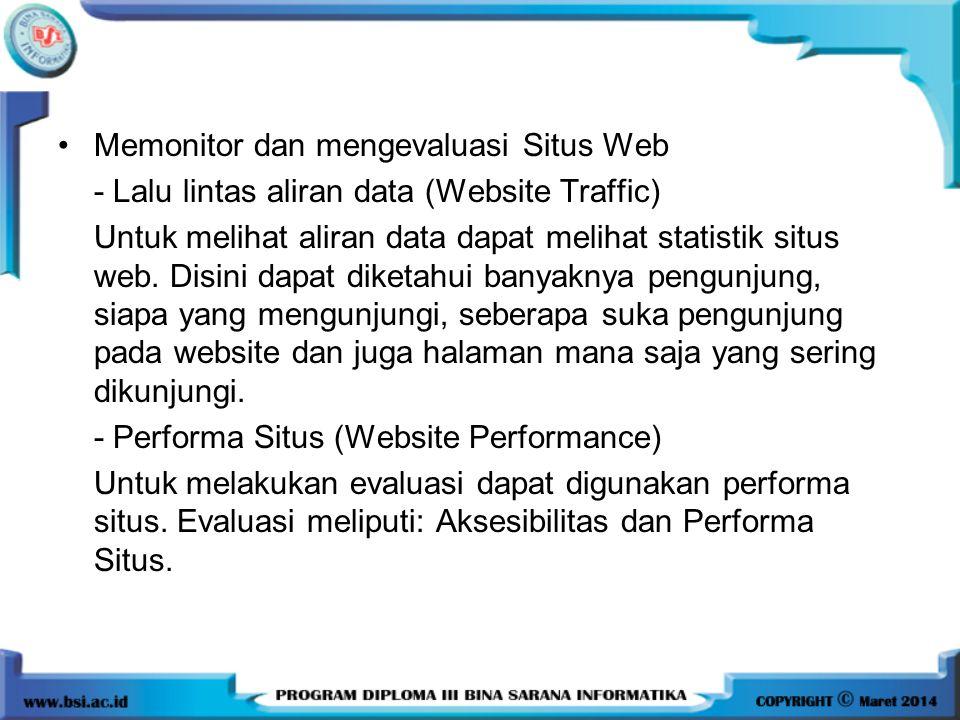Memonitor dan mengevaluasi Situs Web