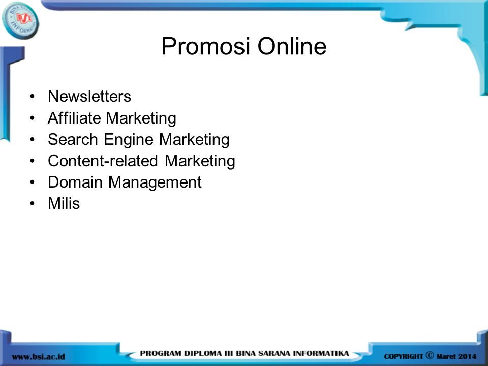 Promosi Online Newsletters Affiliate Marketing Search Engine Marketing