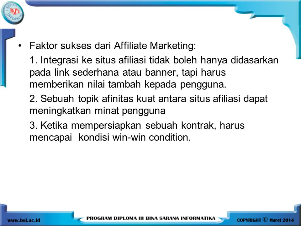 Faktor sukses dari Affiliate Marketing: