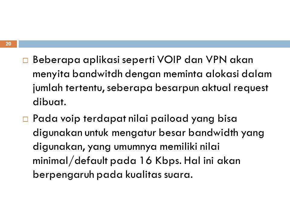 Beberapa aplikasi seperti VOIP dan VPN akan menyita bandwitdh dengan meminta alokasi dalam jumlah tertentu, seberapa besarpun aktual request dibuat.
