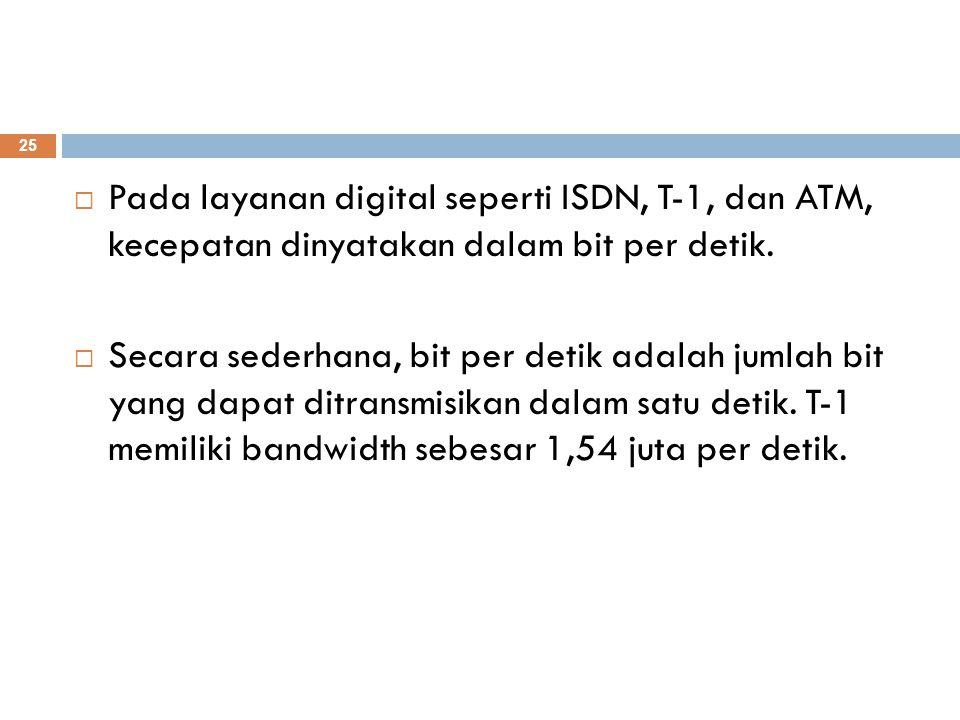 Pada layanan digital seperti ISDN, T-1, dan ATM, kecepatan dinyatakan dalam bit per detik.