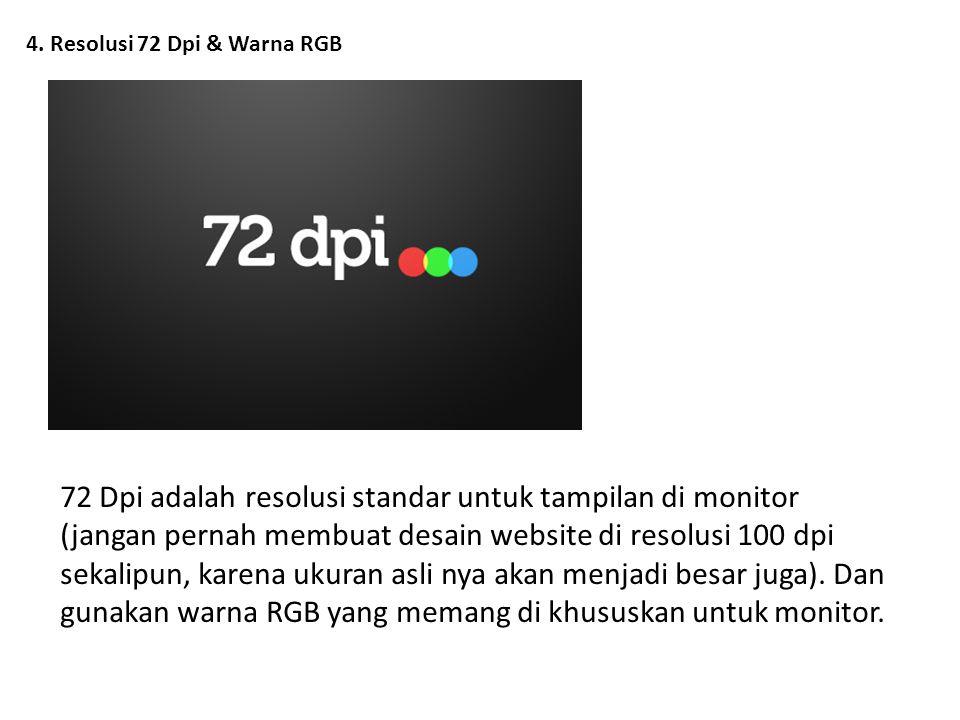 4. Resolusi 72 Dpi & Warna RGB