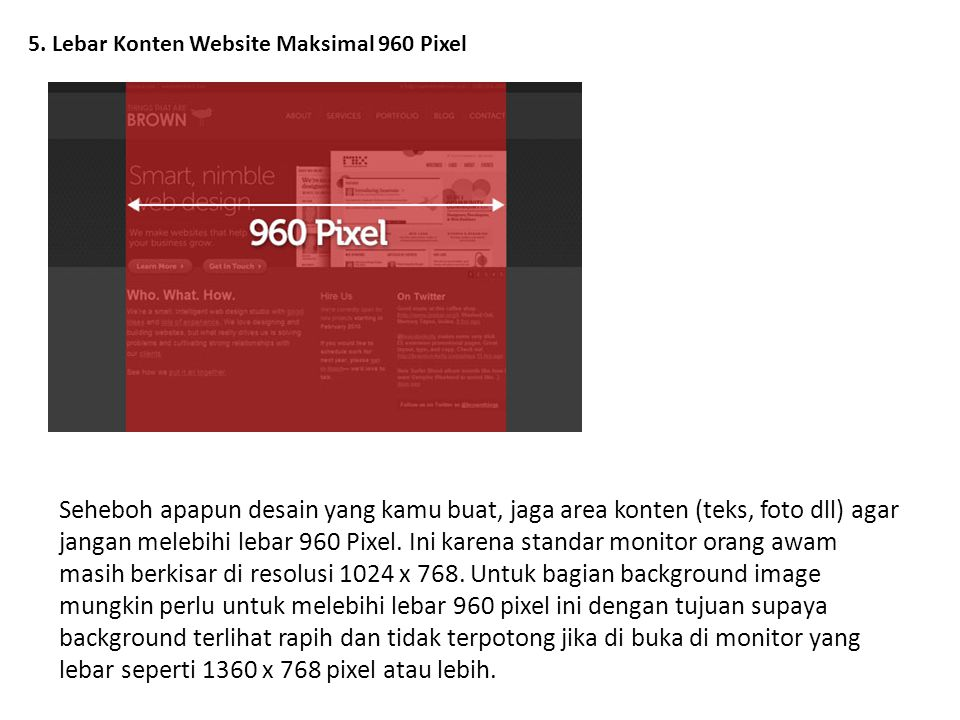 5. Lebar Konten Website Maksimal 960 Pixel