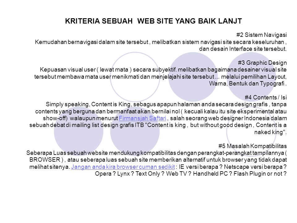 KRITERIA SEBUAH WEB SITE YANG BAIK LANJT
