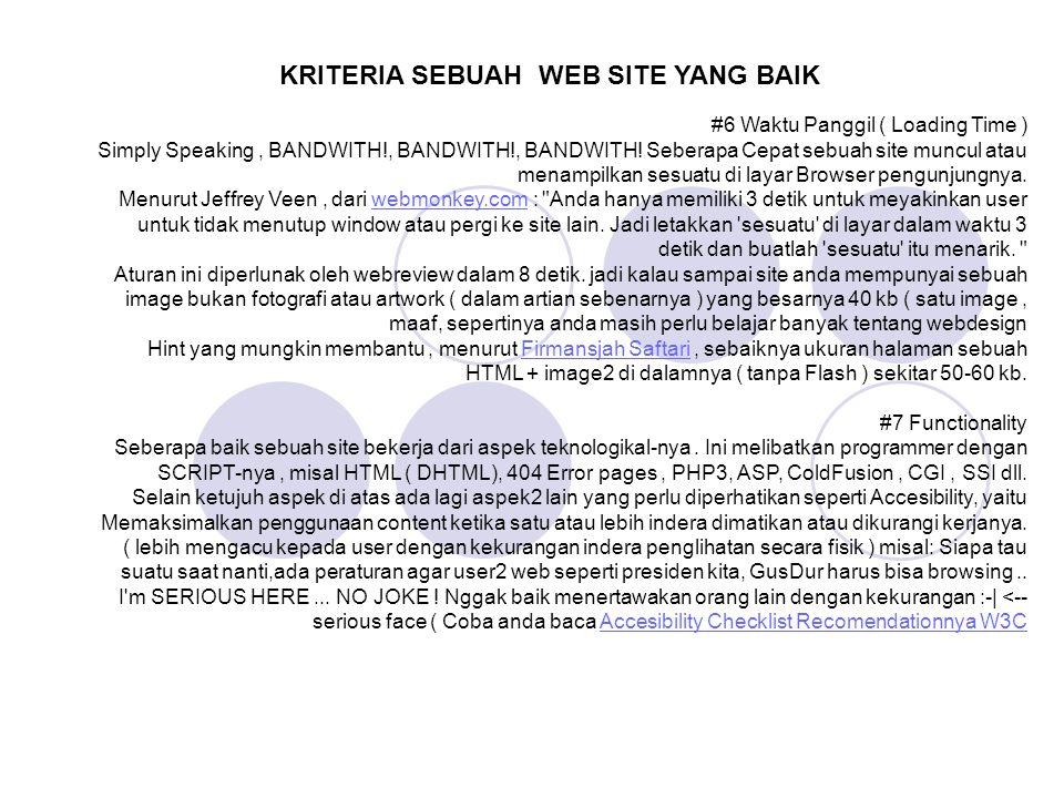 KRITERIA SEBUAH WEB SITE YANG BAIK