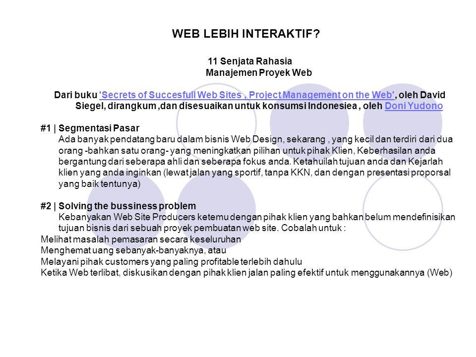 11 Senjata Rahasia Manajemen Proyek Web