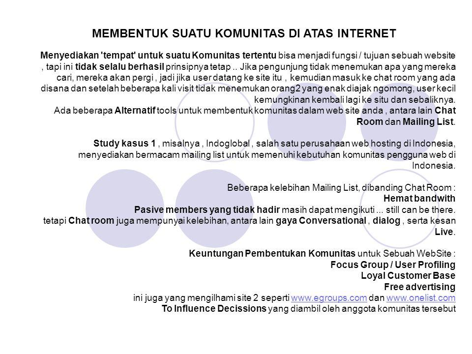 MEMBENTUK SUATU KOMUNITAS DI ATAS INTERNET