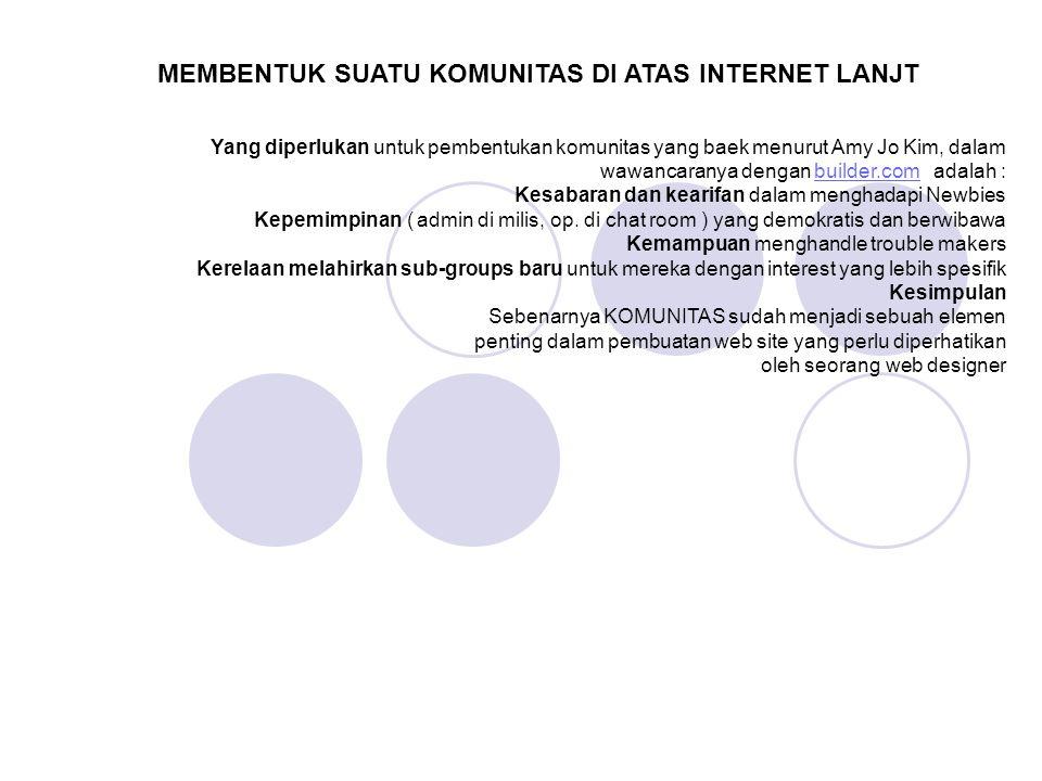MEMBENTUK SUATU KOMUNITAS DI ATAS INTERNET LANJT