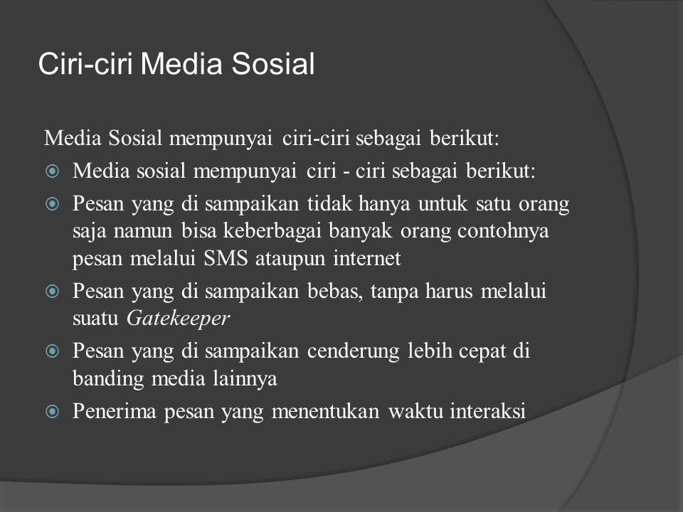 Ciri-ciri Media Sosial