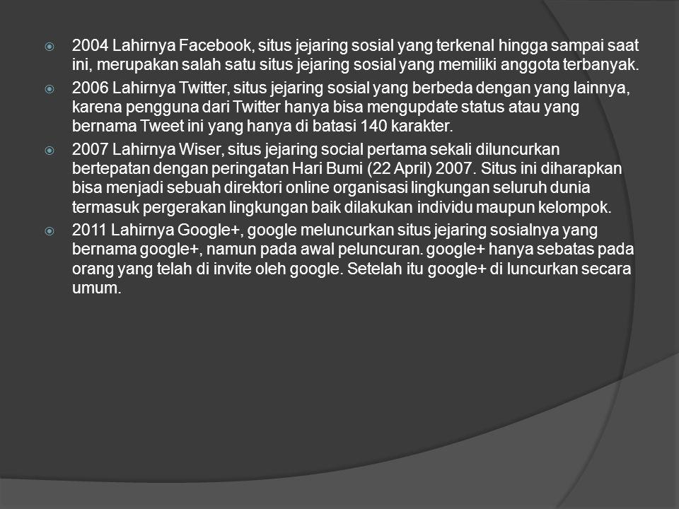 2004 Lahirnya Facebook, situs jejaring sosial yang terkenal hingga sampai saat ini, merupakan salah satu situs jejaring sosial yang memiliki anggota terbanyak.