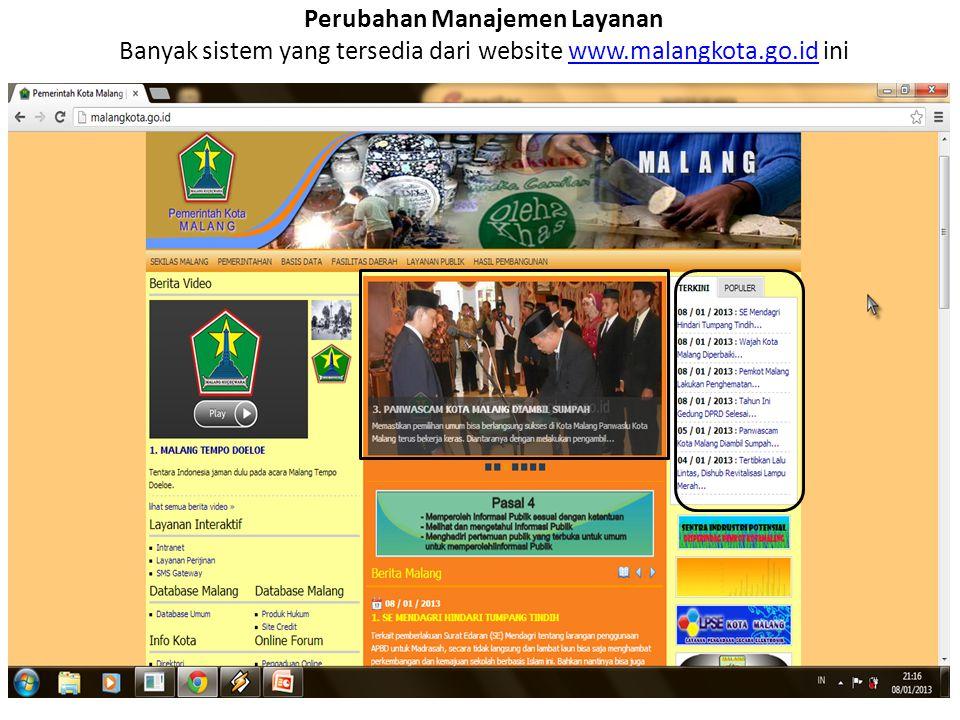 Perubahan Manajemen Layanan Banyak sistem yang tersedia dari website www.malangkota.go.id ini