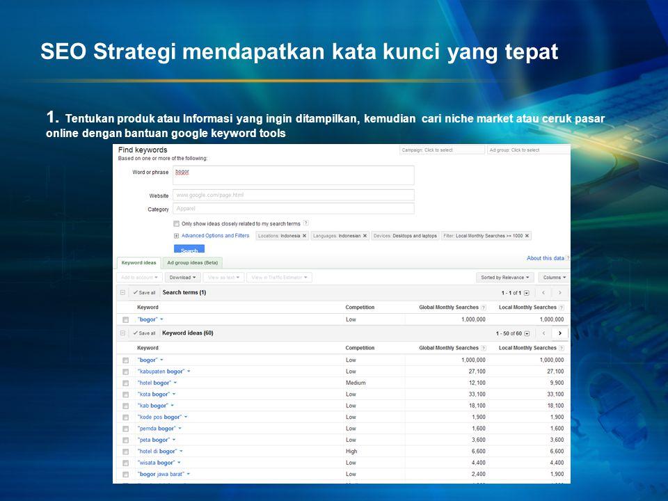 SEO Strategi mendapatkan kata kunci yang tepat