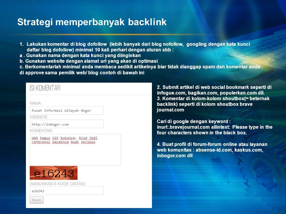 Strategi memperbanyak backlink