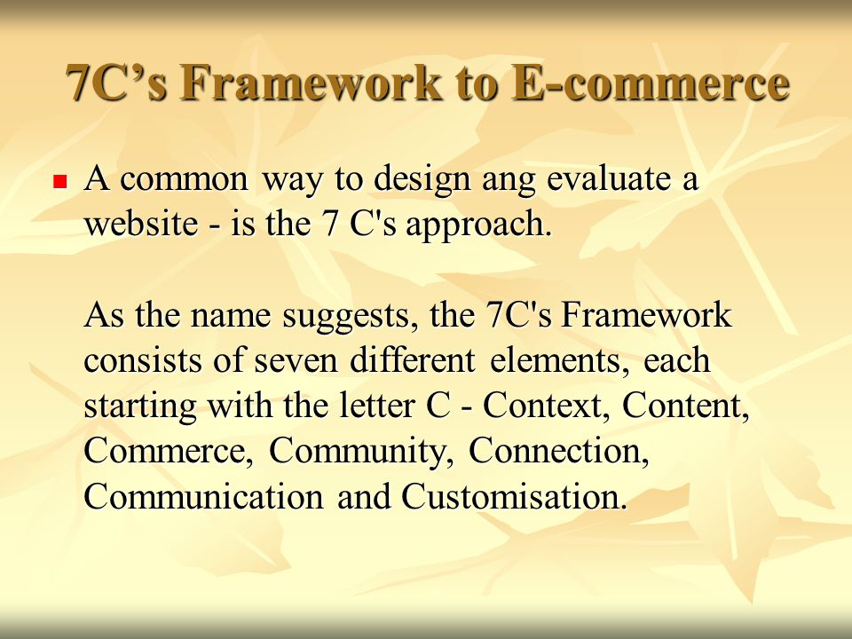 7C's Framework to E-commerce
