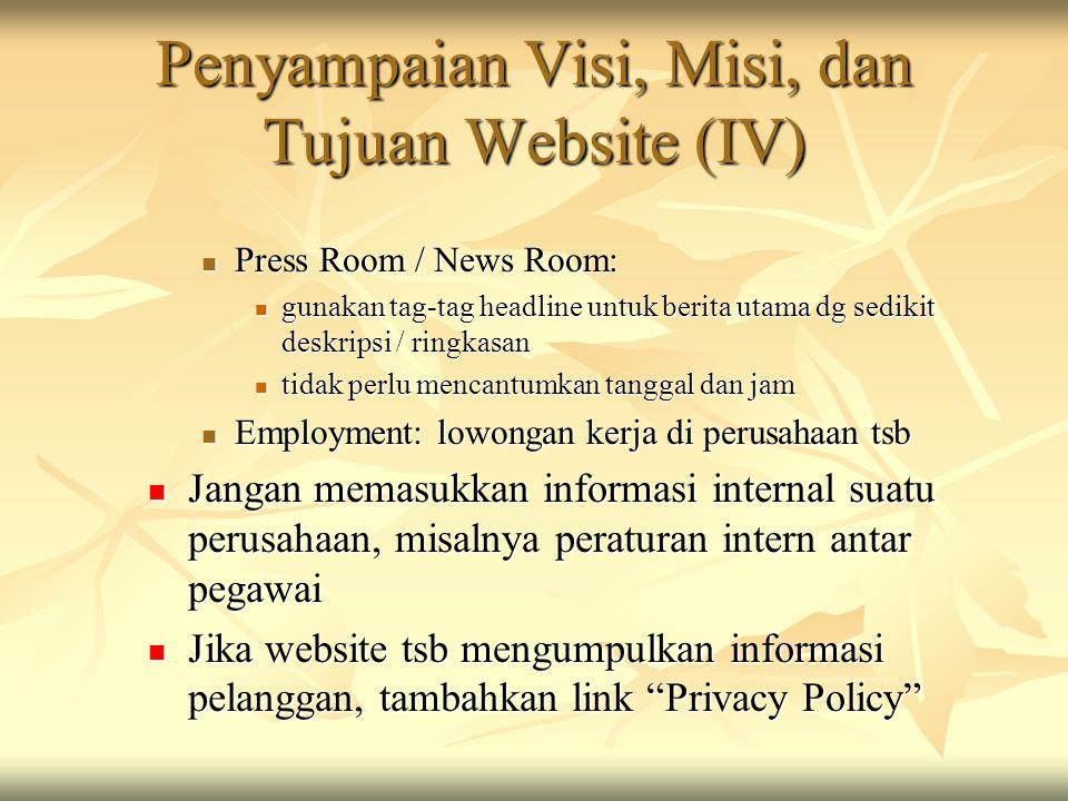 Penyampaian Visi, Misi, dan Tujuan Website (IV)
