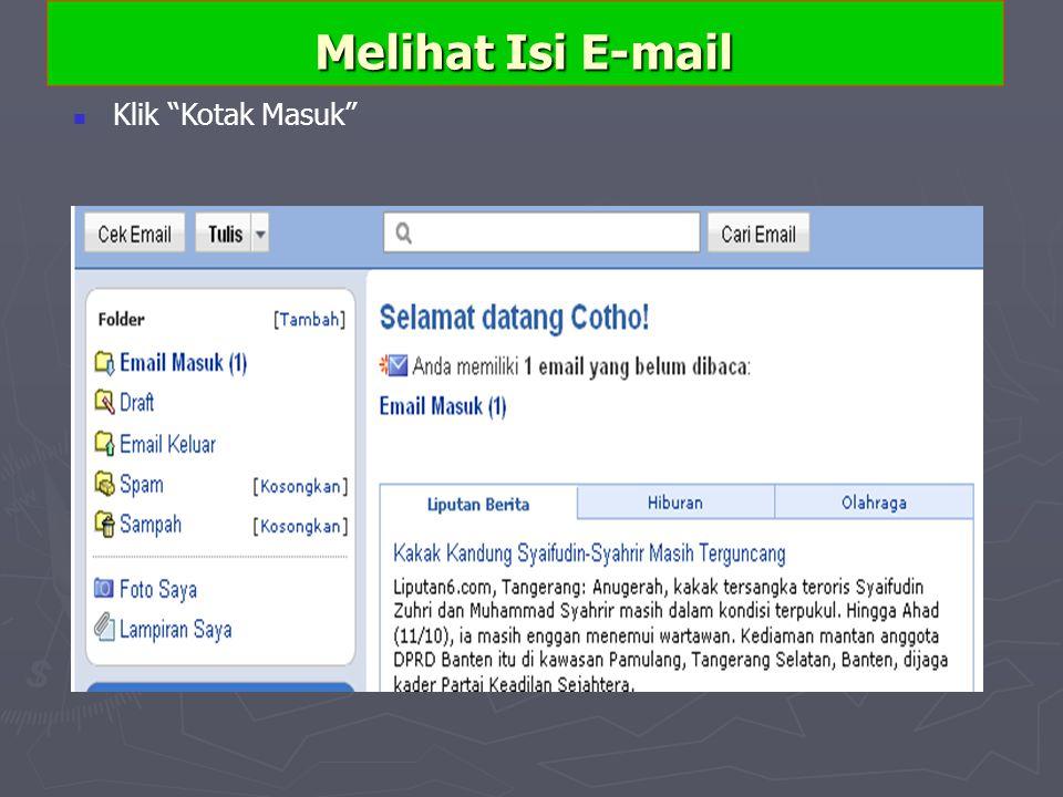Melihat Isi E-mail Klik Kotak Masuk