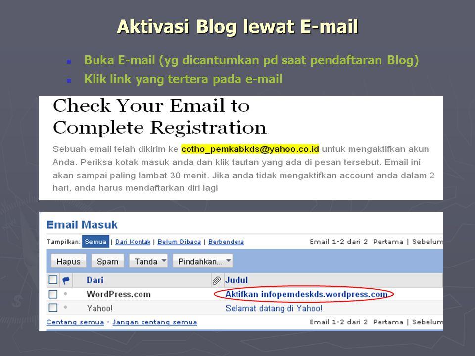 Aktivasi Blog lewat E-mail