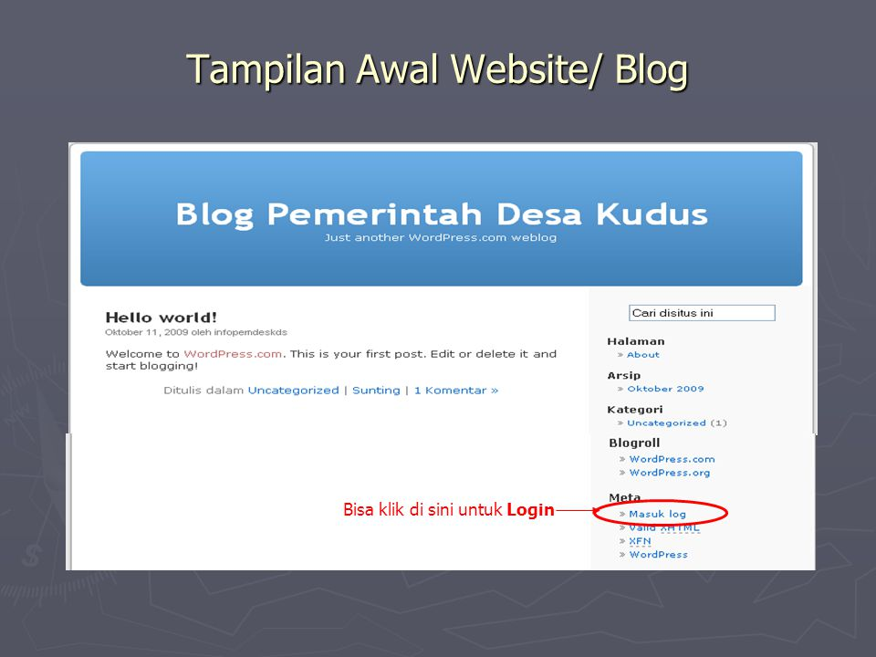 Tampilan Awal Website/ Blog