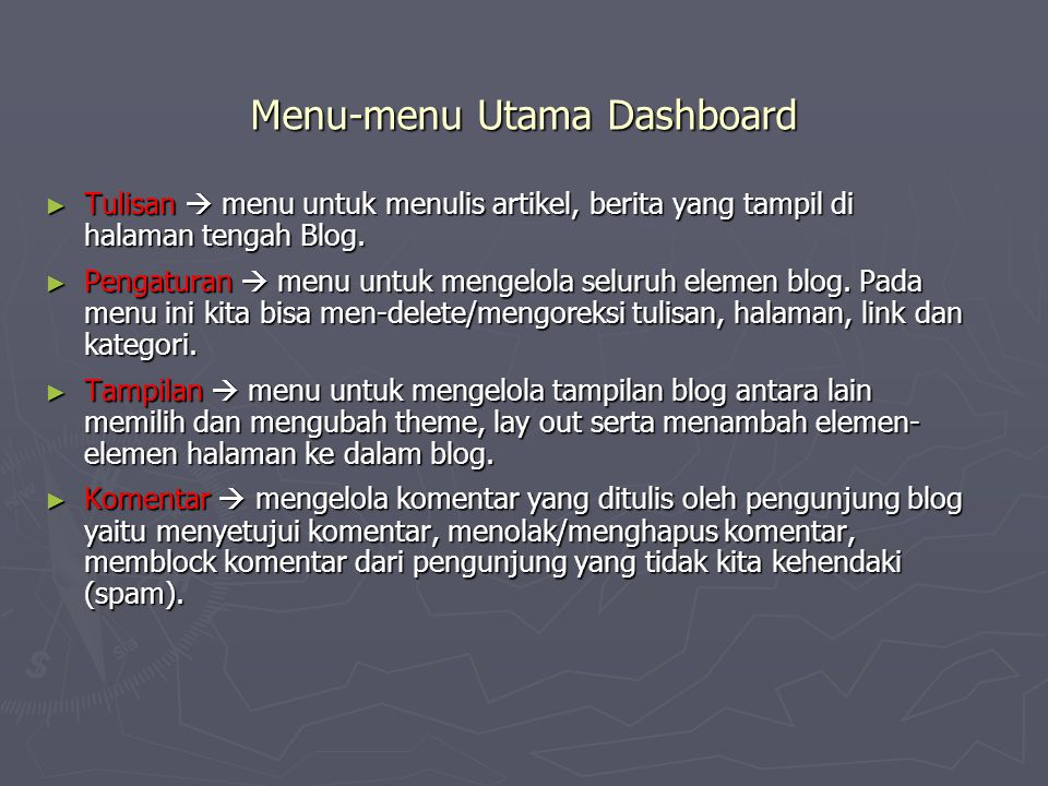 Menu-menu Utama Dashboard