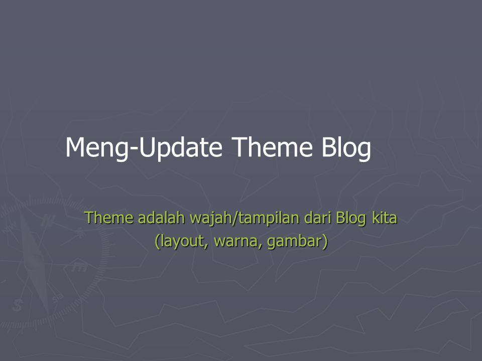 Theme adalah wajah/tampilan dari Blog kita (layout, warna, gambar)