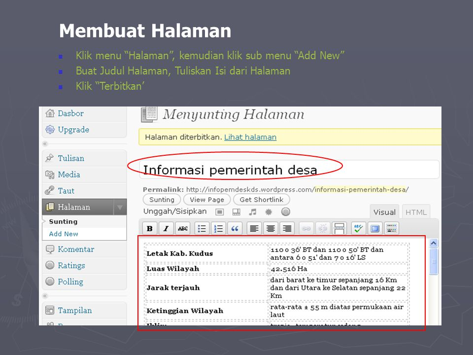 Membuat Halaman Klik menu Halaman , kemudian klik sub menu Add New