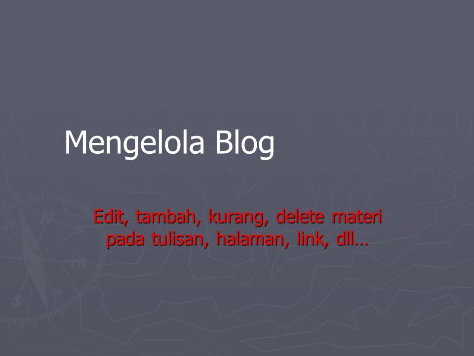 Edit, tambah, kurang, delete materi pada tulisan, halaman, link, dll…
