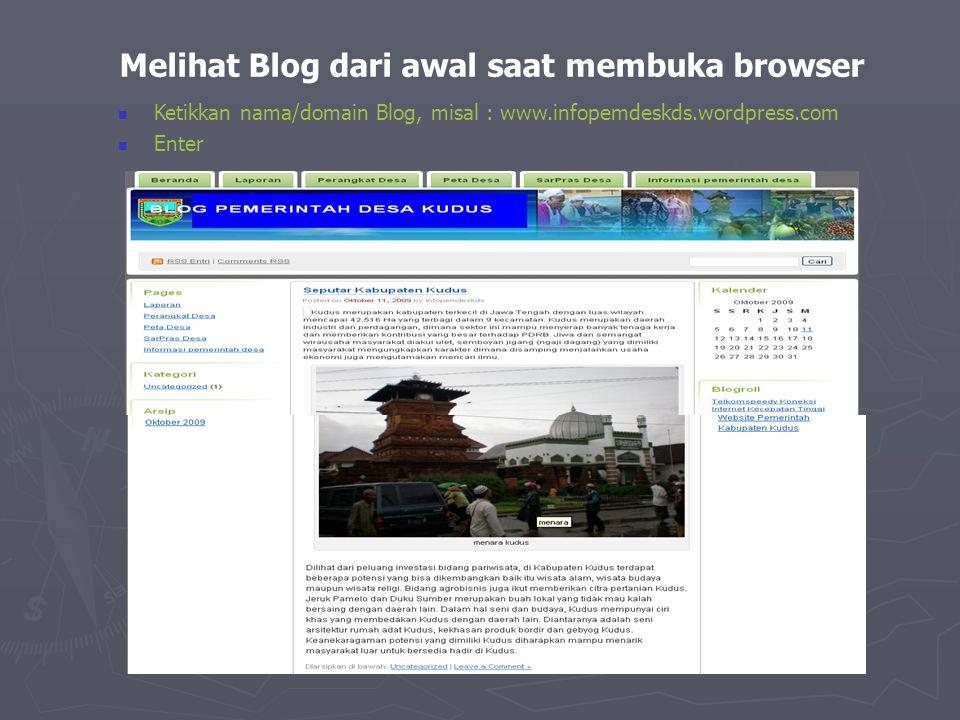 Melihat Blog dari awal saat membuka browser
