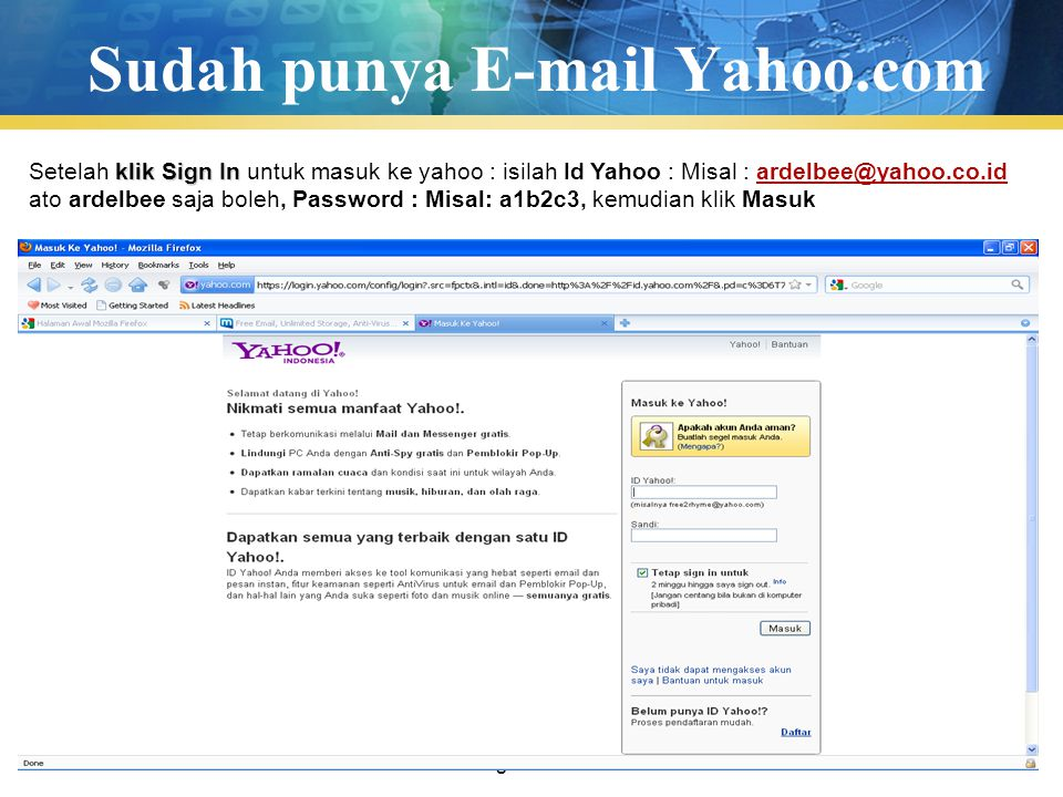 Sudah punya E-mail Yahoo.com