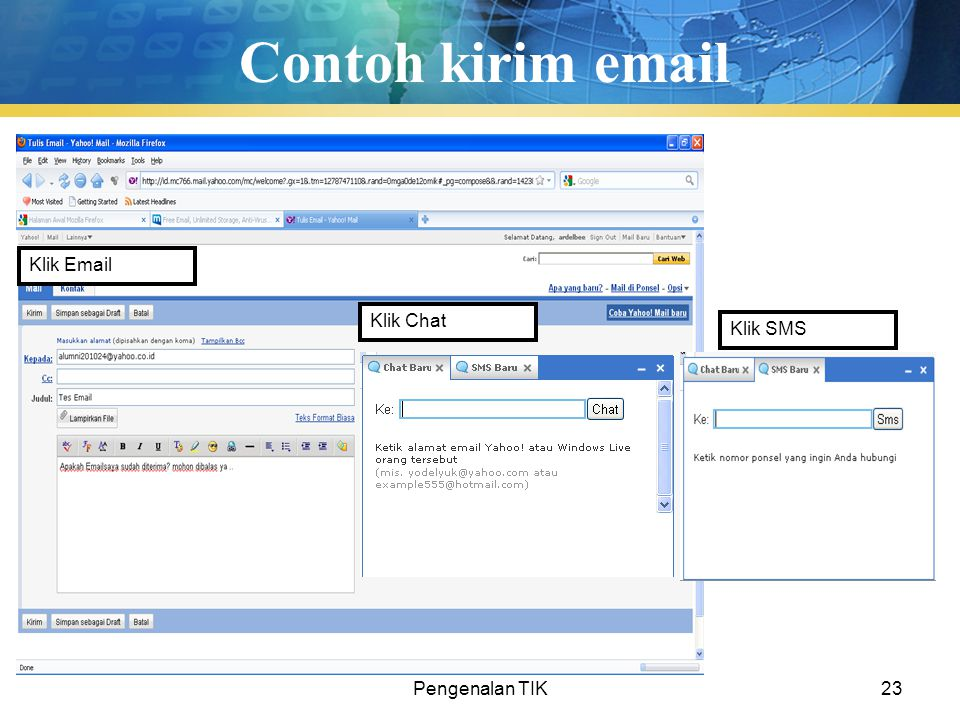 Contoh kirim email Klik Email Klik Chat Klik SMS Pengenalan TIK