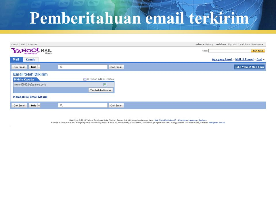 Pemberitahuan email terkirim