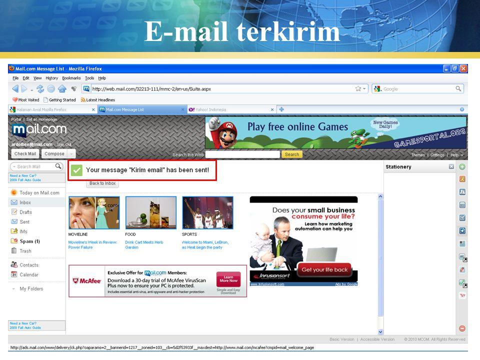 E-mail terkirim Pengenalan TIK
