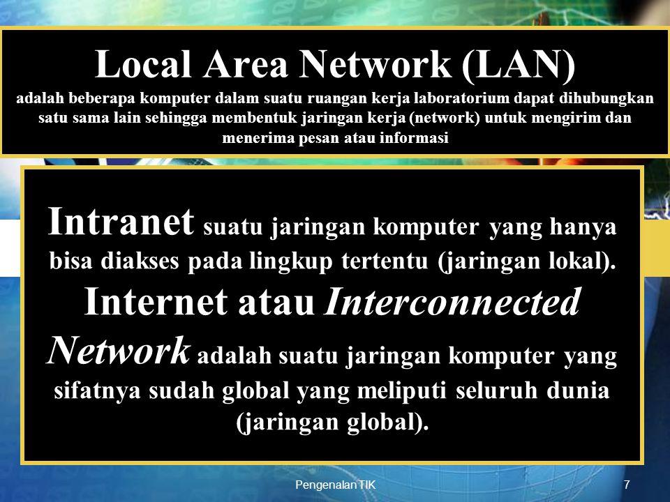 Local Area Network (LAN) adalah beberapa komputer dalam suatu ruangan kerja laboratorium dapat dihubungkan satu sama lain sehingga membentuk jaringan kerja (network) untuk mengirim dan menerima pesan atau informasi