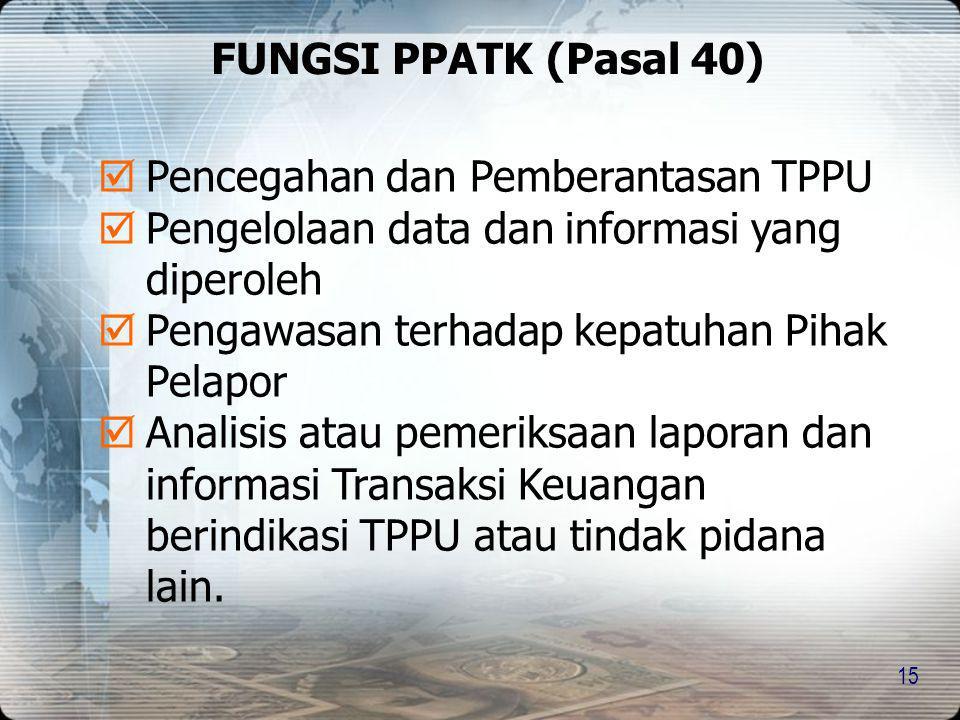 FUNGSI PPATK (Pasal 40) Pencegahan dan Pemberantasan TPPU. Pengelolaan data dan informasi yang diperoleh.