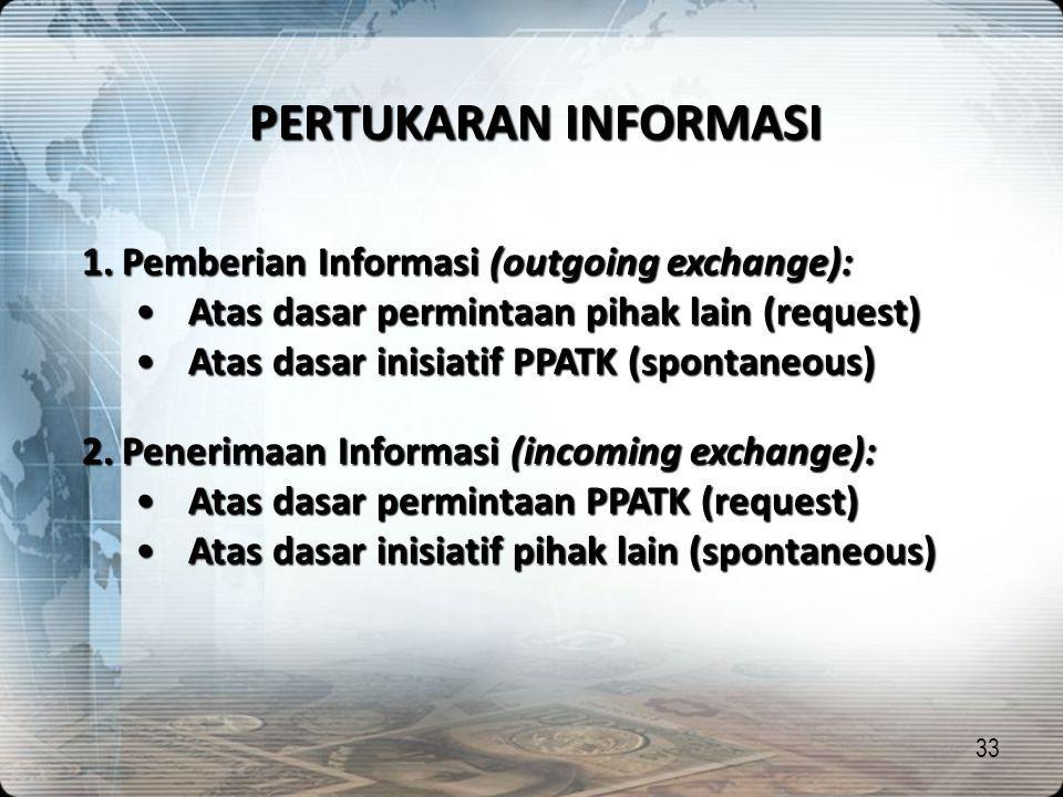 PERTUKARAN INFORMASI Pemberian Informasi (outgoing exchange):