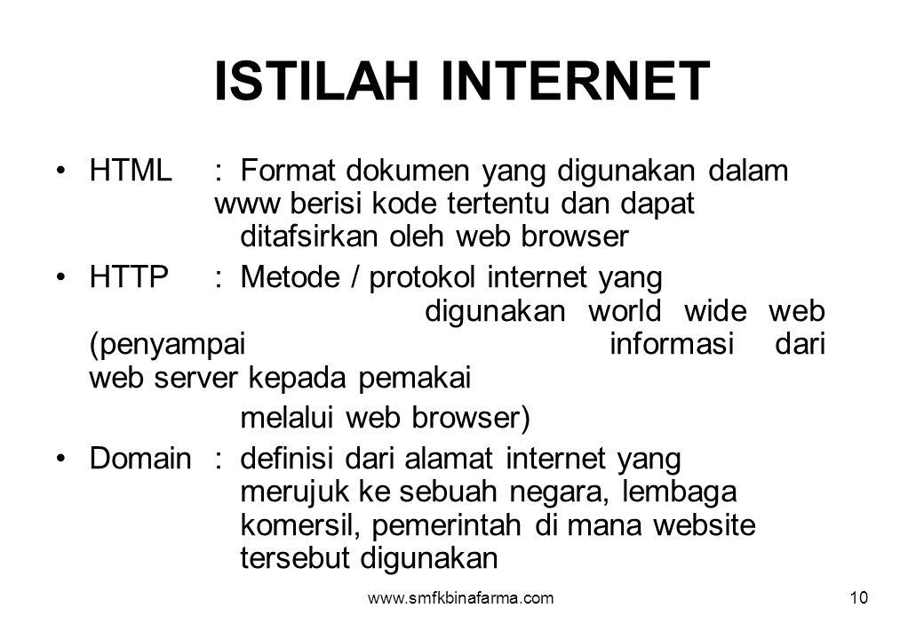 ISTILAH INTERNET HTML : Format dokumen yang digunakan dalam www berisi kode tertentu dan dapat ditafsirkan oleh web browser.