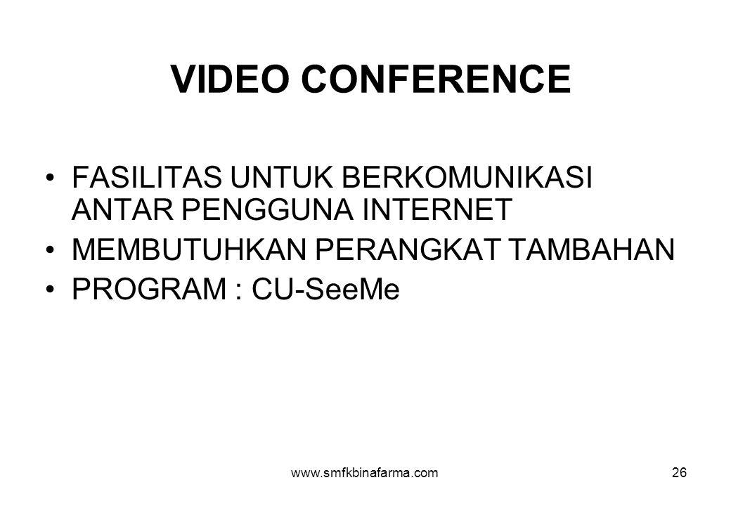 VIDEO CONFERENCE FASILITAS UNTUK BERKOMUNIKASI ANTAR PENGGUNA INTERNET