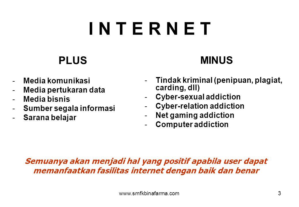 I N T E R N E T PLUS. Media komunikasi. Media pertukaran data. Media bisnis. Sumber segala informasi.