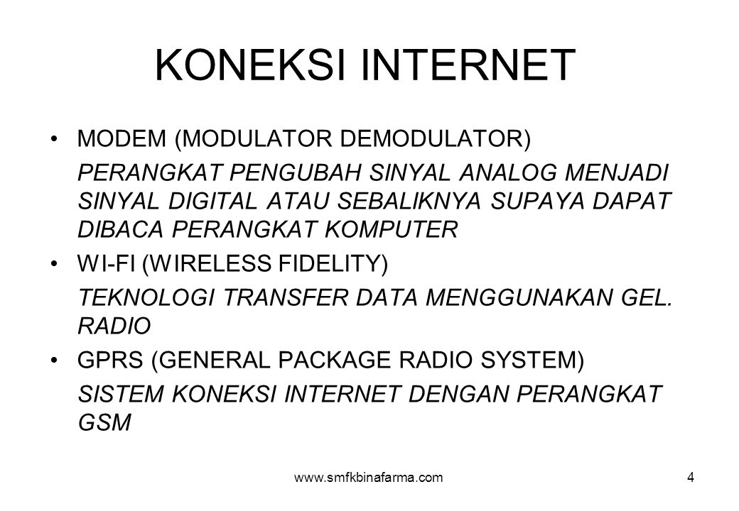 KONEKSI INTERNET MODEM (MODULATOR DEMODULATOR)