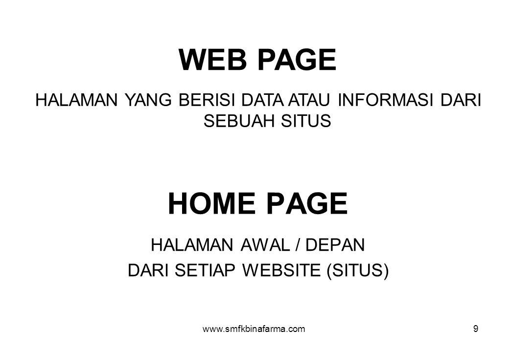 WEB PAGE HALAMAN YANG BERISI DATA ATAU INFORMASI DARI SEBUAH SITUS. HOME PAGE. HALAMAN AWAL / DEPAN.