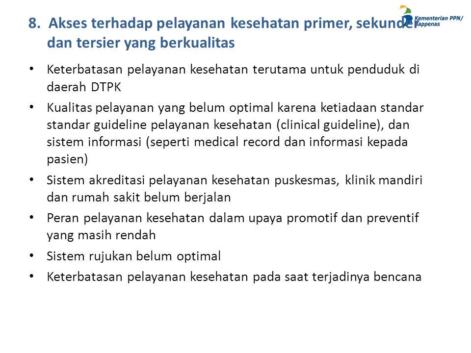 8. Akses terhadap pelayanan kesehatan primer, sekunder dan tersier yang berkualitas