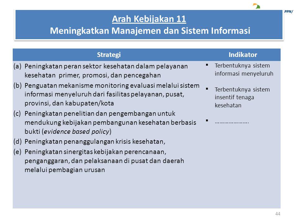 Arah Kebijakan 11 Meningkatkan Manajemen dan Sistem Informasi