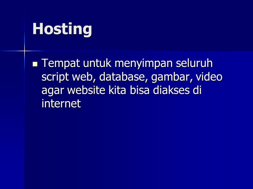 Hosting Tempat untuk menyimpan seluruh script web, database, gambar, video agar website kita bisa diakses di internet.