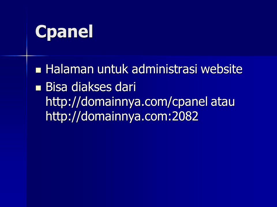 Cpanel Halaman untuk administrasi website