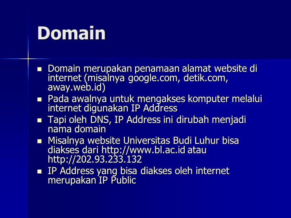Domain Domain merupakan penamaan alamat website di internet (misalnya google.com, detik.com, away.web.id)
