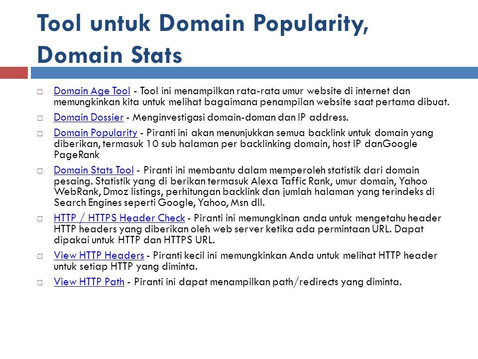 Tool untuk Domain Popularity, Domain Stats