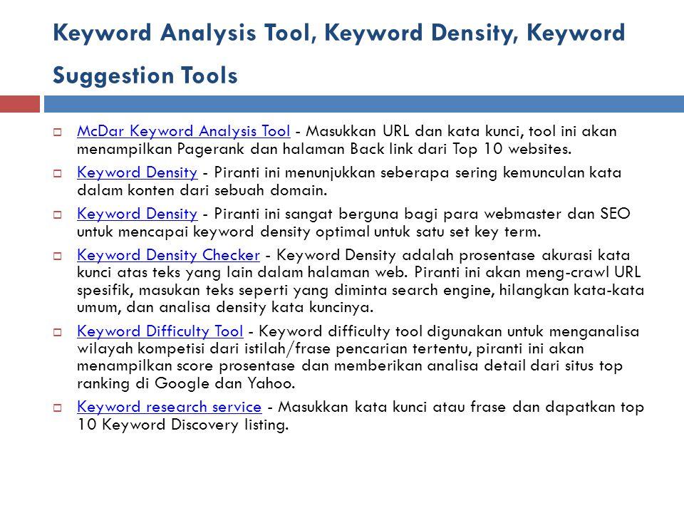 Keyword Analysis Tool, Keyword Density, Keyword Suggestion Tools